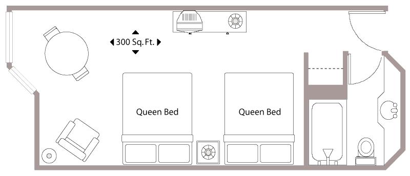Floor Plan with two Queen Beds