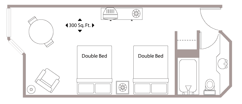 Floor Plan with two Double Beds