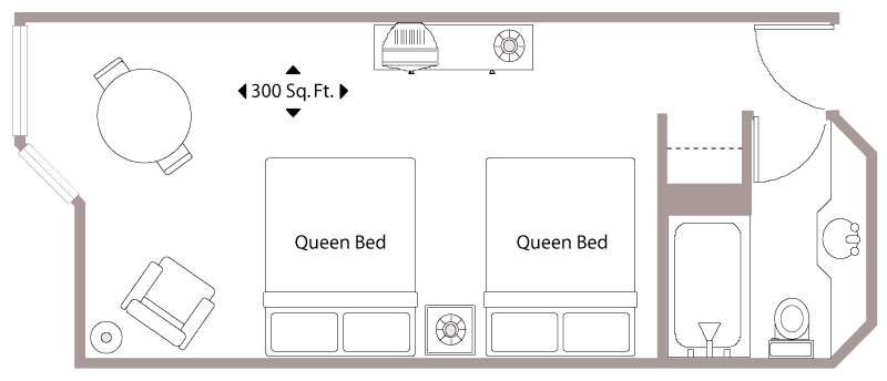 Floor Plan with two Queen Beds