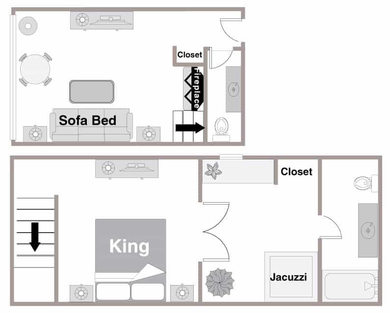 Floor Plan of the Mountain Loft Suite
